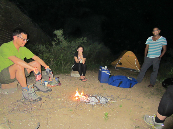 We made a tiny little fire for the evening - Camping at the Gubeikou Great Wall, May 2014