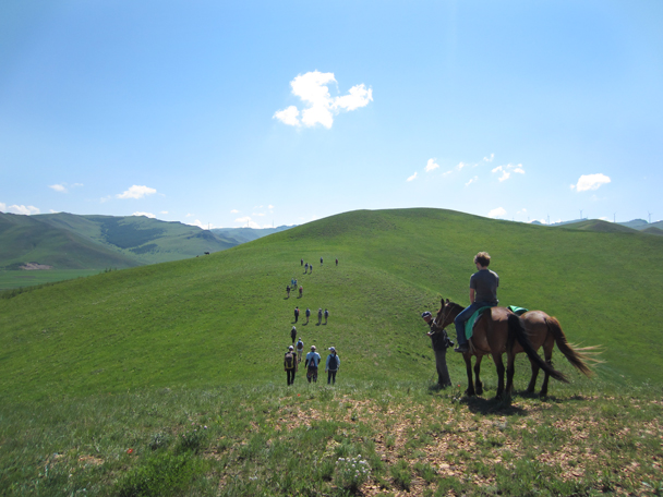 We followed a trail along the ridgeline. The hills don't look too big here, but we were nearly at 2,000m above sea level -  Bashang Grasslands trip, 2014/7