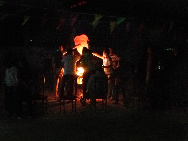 We had a bonfire, and also sent off some floating lanterns - Bashang Grasslands trip, 2014/06