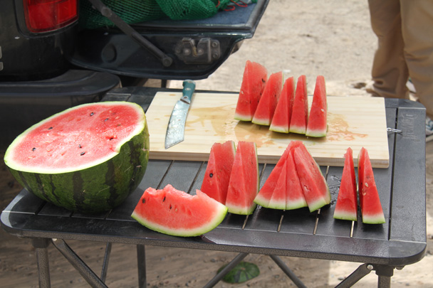 In China, the words for watermelon translate roughly as 'melon from the west'. Very appropriate to find them here - Along the Silk Road from Korla to Kashgar, 2014/06