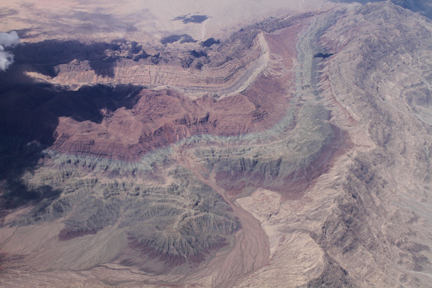 Flying back, we passed over some familiar coloured mountains - Along the Silk Road from Korla to Kashgar, 2014/06