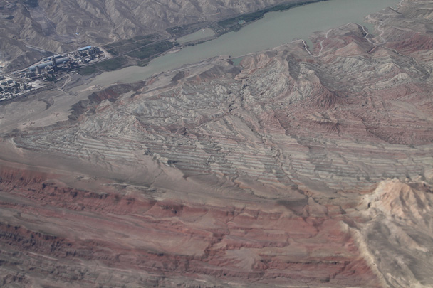 Mountains beside a lake and a town - Along the Silk Road from Korla to Kashgar, 2014/06