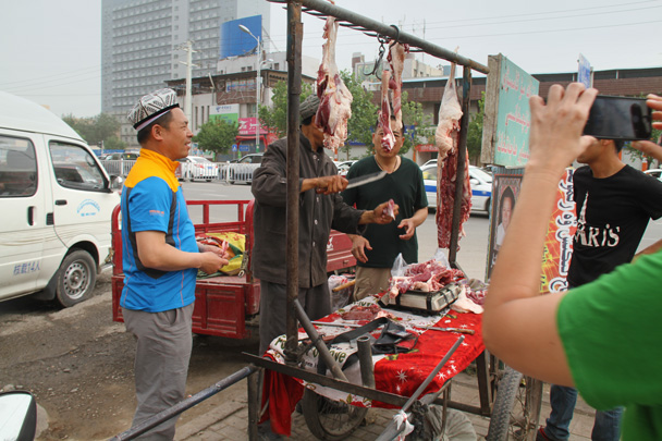 We bought some of this lamb to cook at our campsite - Along the Silk Road from Korla to Kashgar, 2014/06