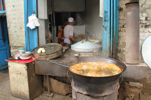 Soup for sale - Along the Silk Road from Korla to Kashgar, 2014/06