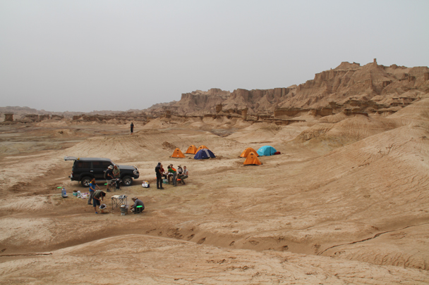 View of the campsite - Along the Silk Road from Korla to Kashgar, 2014/06
