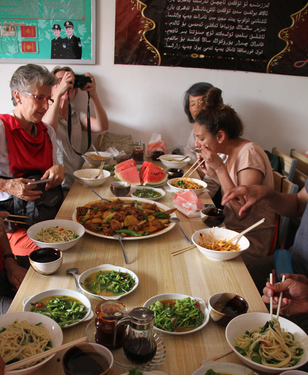 Noodles and 'Dapanji', which translates as 'Big Plate of Chicken' – another very appropriate name - Along the Silk Road from Korla to Kashgar, 2014/06