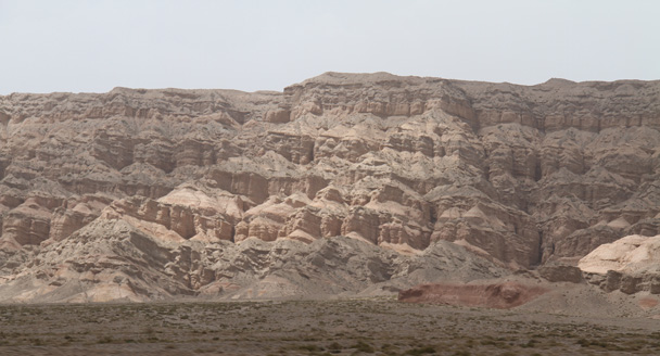 Big cliffs at the Yardang Landform - Along the Silk Road from Korla to Kashgar, 2014/06
