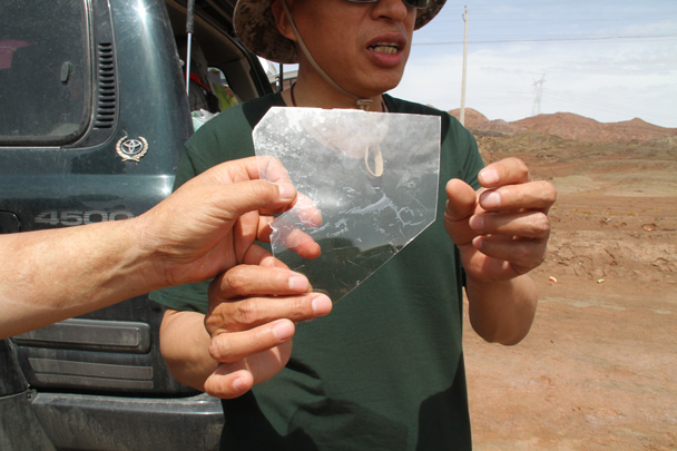 The drivers swore this was a natural mineral, not just some broken glass - Along the Silk Road from Korla to Kashgar, 2014/06
