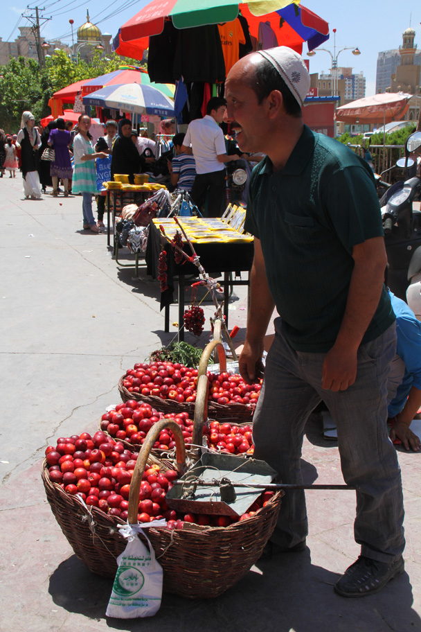 Plums for sale - Along the Silk Road from Korla to Kashgar, 2014/06