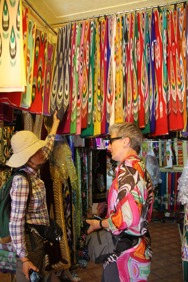 Shopping for scarves - Along the Silk Road from Korla to Kashgar, 2014/06