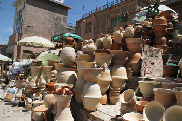 The wares of a ceramics store - Along the Silk Road from Korla to Kashgar, 2014/06