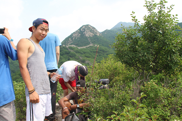 We climbed up the Big East Mountain on the second day, and crossed a stretch of Great Wall - School Camping trip, 2014/6