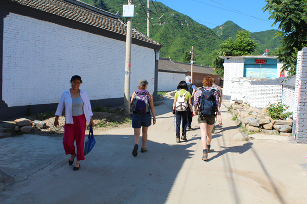 We began the hike with a stroll through the streets of Flower Wood Village - Flower Wood to the Silver Pagodas, 2014/6/28