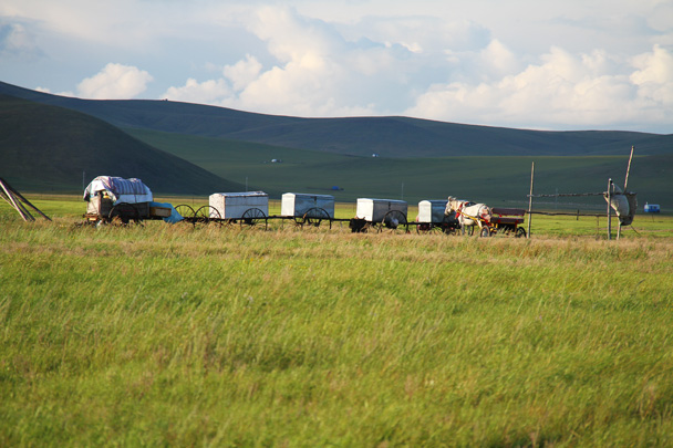 Carriages used to transport the yurts - Hulunbuir Grasslands, Inner Mongolia, 2014/07