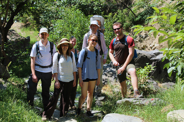 The hiking team taking a break - Zhuangdaokou Great Wall to the Walled Village, 2014/07/12