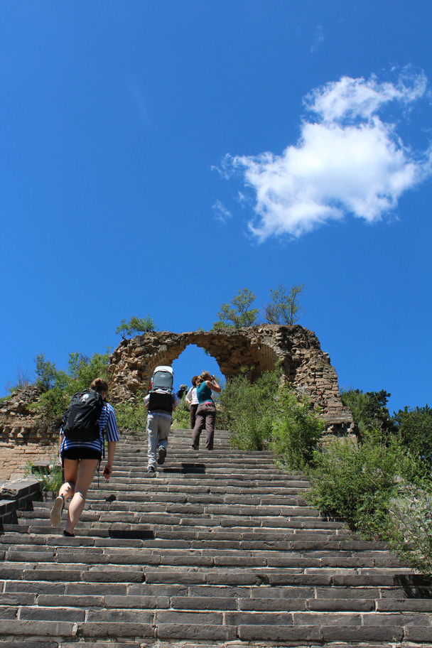 Almost at the top - Zhuangdaokou Great Wall to the Walled Village, 2014/07/12