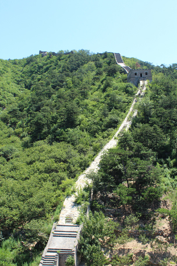 Looking back, we could see the Great Wall on the other side of the valley - Zhuangdaokou Great Wall to the Walled Village, 2014/07/12
