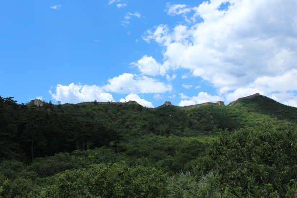 A shot of a line of Great Wall that follows a tall ridgeline - Zhuangdaokou Great Wall to the Walled Village, 2014/07/12
