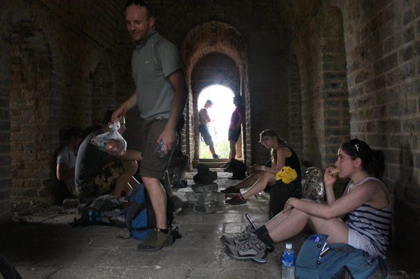 After a tough climb up to the Great Wall we stopped for a rest in a tower - Great Wall Spur Camping, July 2014