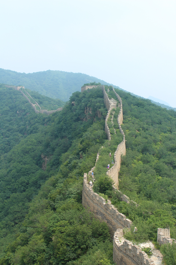 We followed the Great Wall up and over a high ridge, passing through towers on the way - Great Wall Spur Camping, July 2014