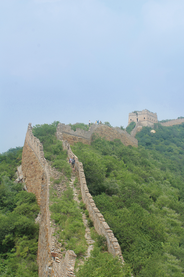 A steep climb up to a tower - Great Wall Spur Camping, July 2014