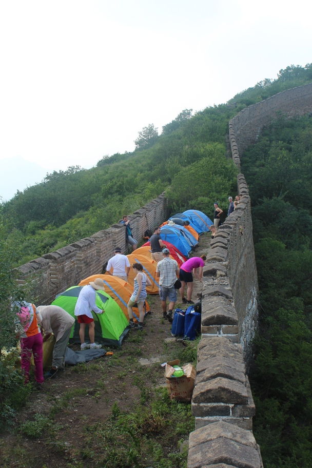 Setting up the tents - Great Wall Spur Camping, July 2014