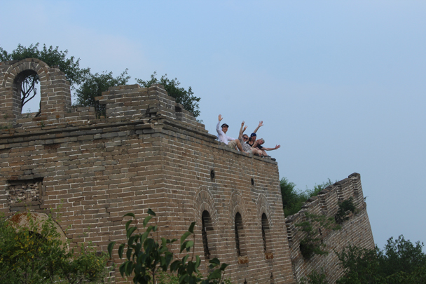 Hikers on the old tower next to our campsite - Great Wall Spur Camping, July 2014