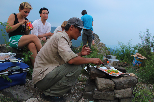 Time to cook dinner! We were very careful to keep the fire under control - Great Wall Spur Camping, July 2014