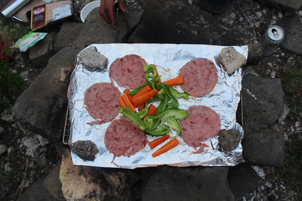 Salami and vegetables to cook - Great Wall Spur Camping, July 2014