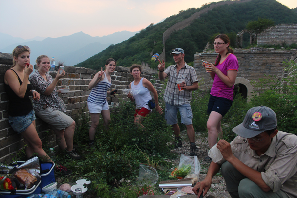 The skies turned pink as the sun started to set - Great Wall Spur Camping, July 2014