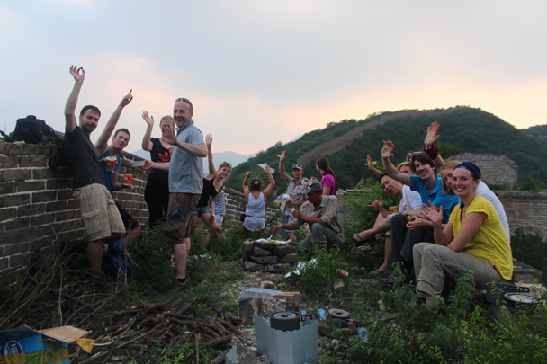 Happy hikers after a tough, hot hike - Great Wall Spur Camping, July 2014