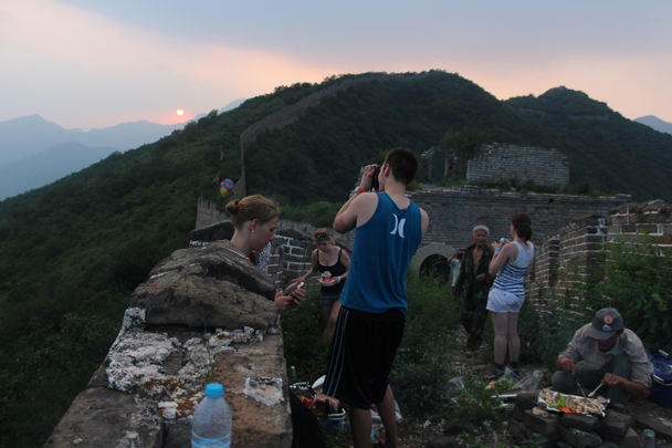 Sun setting behind the Great Wall - Great Wall Spur Camping, July 2014