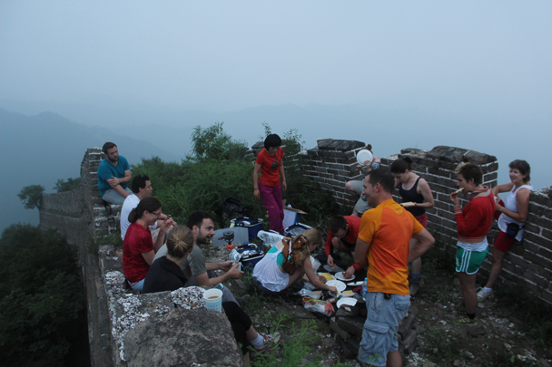 The net day we woke up to misty skies and some tasty breakfast - Great Wall Spur Camping, July 2014