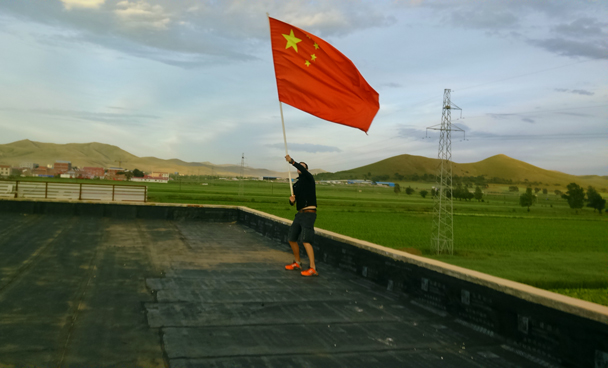 Flying the flag - Bashang Grasslands trip, August 2014