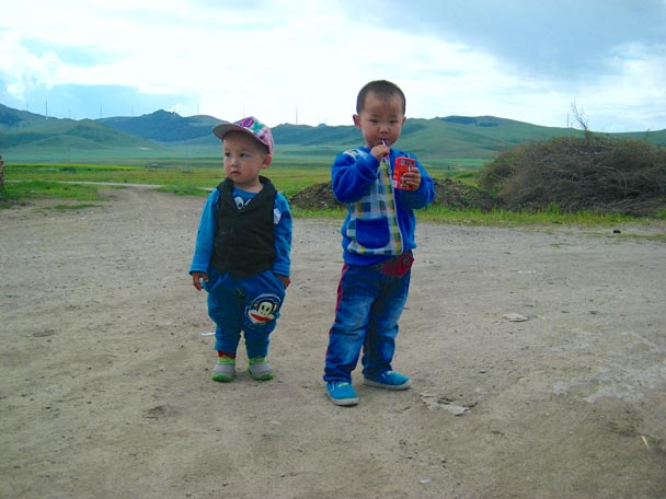 Cute kids from the village - Bashang Grasslands trip, August 2014