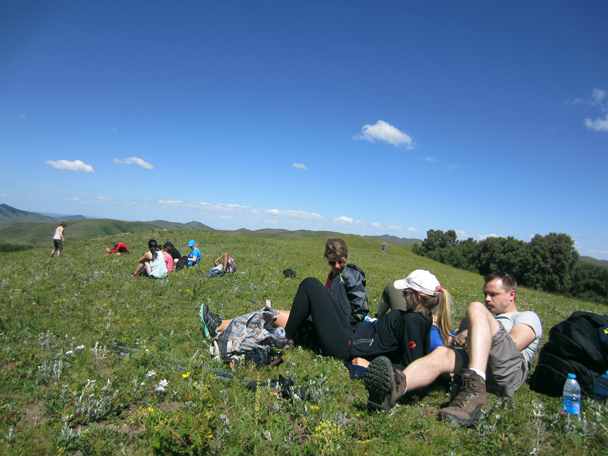 We took a break after we made it to the top of the ridge - Bashang Grasslands trip, August 2014