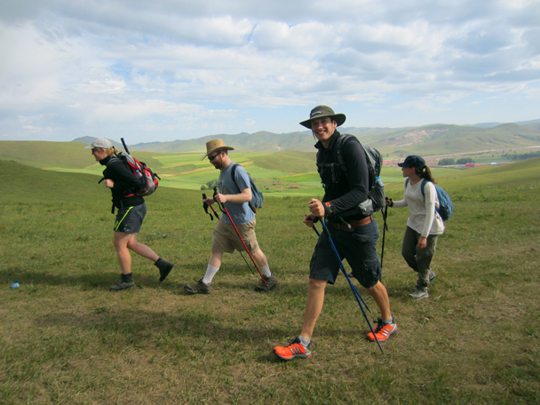 Starting off on the Sunday hike - Bashang Grasslands trip, August 2014