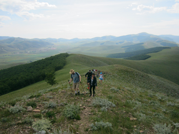 Up on to a rocky ridge - Bashang Grasslands trip, August 2014