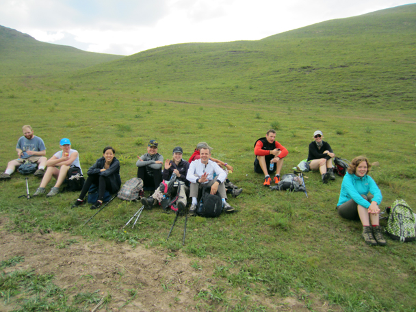 We stopped for a snack break before heading on - Bashang Grasslands trip, August 2014