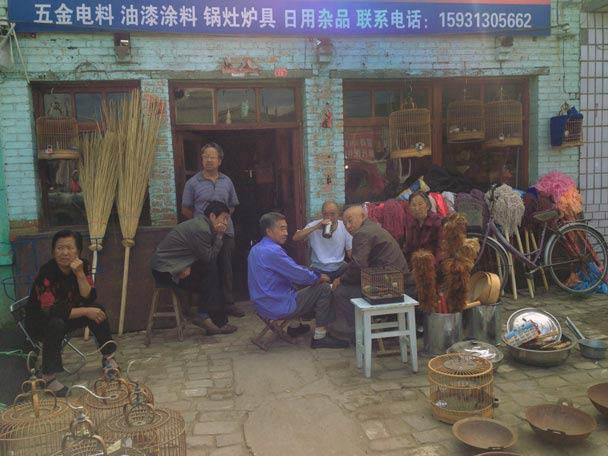 Locals outside the general store of a small village - Yu County Overnight Trip 2014/08