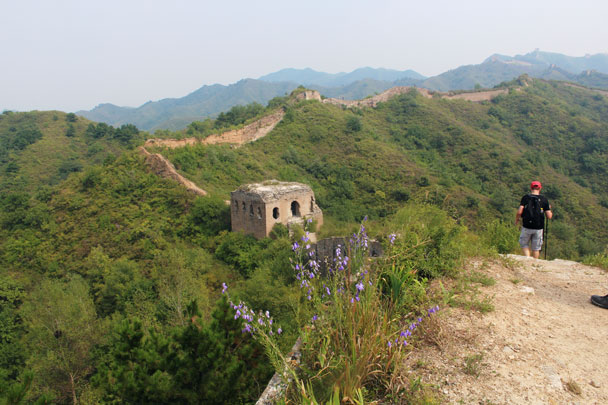 The hike continued along the Great Wall, passing through the large square tower - Gubeikou Great Wall, 2014/09/06