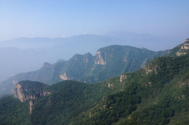 Big ridges, with an isolated Great Wall tower in view - Ming Village overnight, September 2014