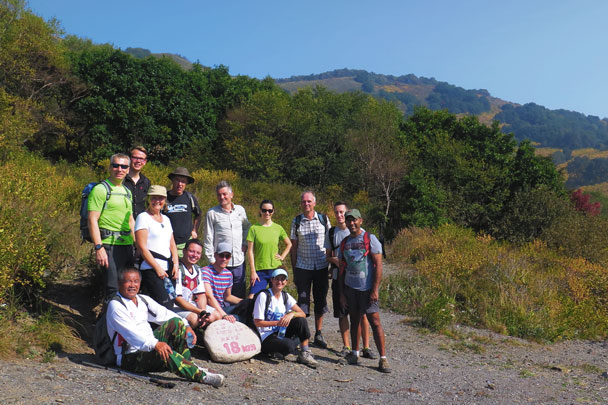 A group photo by the 18km mark of a 100km route used for the Mountain Walking Festival - Ming Village overnight, September 2014