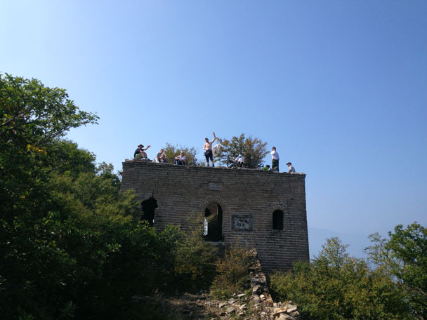 Hikers atop a tower - Ming Village overnight, September 2014
