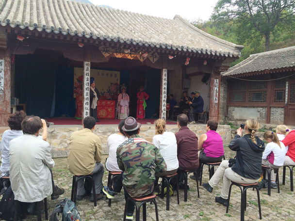 The performance begins! - Changyucheng Walled Village hike and Countryside Opera Performance, 2014/09/21