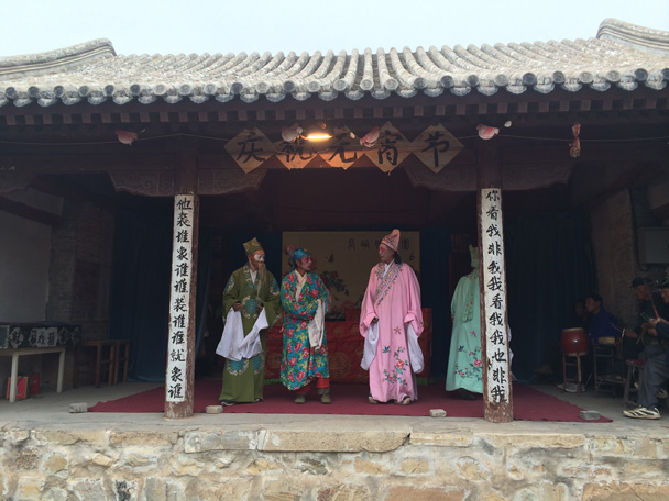 On stage in the temple - Changyucheng Walled Village hike and Countryside Opera Performance, 2014/09/21