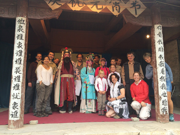 A pose with the performers! - Changyucheng Walled Village hike and Countryside Opera Performance, 2014/09/21