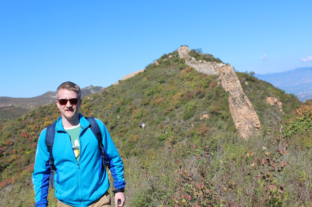 And a glimpse of a colourful hiker! - Yanqing Great Wall and High tower, 2014/09/27