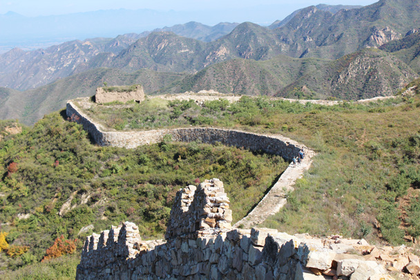 Only the rammed earth foundation is left of the Great Wall tower in this photo - Yanqing Great Wall and High tower, 2014/09/27