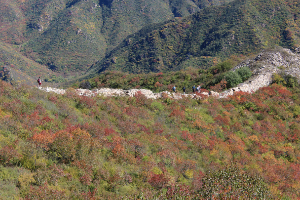 Almost at our lunch spot, right in the middle of all the beautiful colours - Yanqing Great Wall and High tower, 2014/09/27